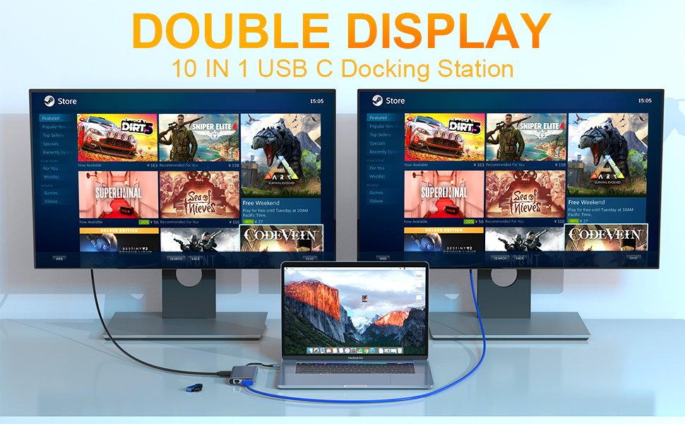 Double Display Hub USB C