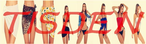 TISDEN Women Beach Wrap Sarong Sheer Bikini Cover Ups Chiffon Swimwear Skirts