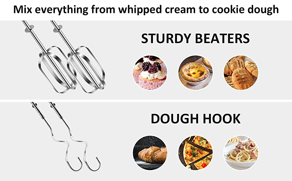 stainless steel dough hook and sturdy beaters