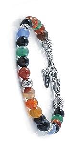 10:10 Bracciale in acciaio inox e pietre di agata multicolor