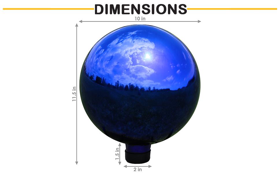 "10"" diameter x 11.5"" H; stem: 2"" diameter x 1.5"" H"