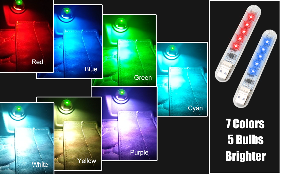 7 colors mini led usb night lights car lights, 7 colors, 5 bulbs, brighter