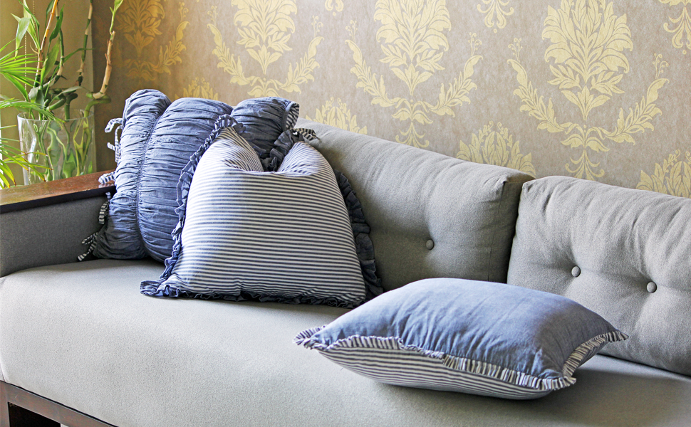 blue cotton cushion covers in a set of 3 for your sofa