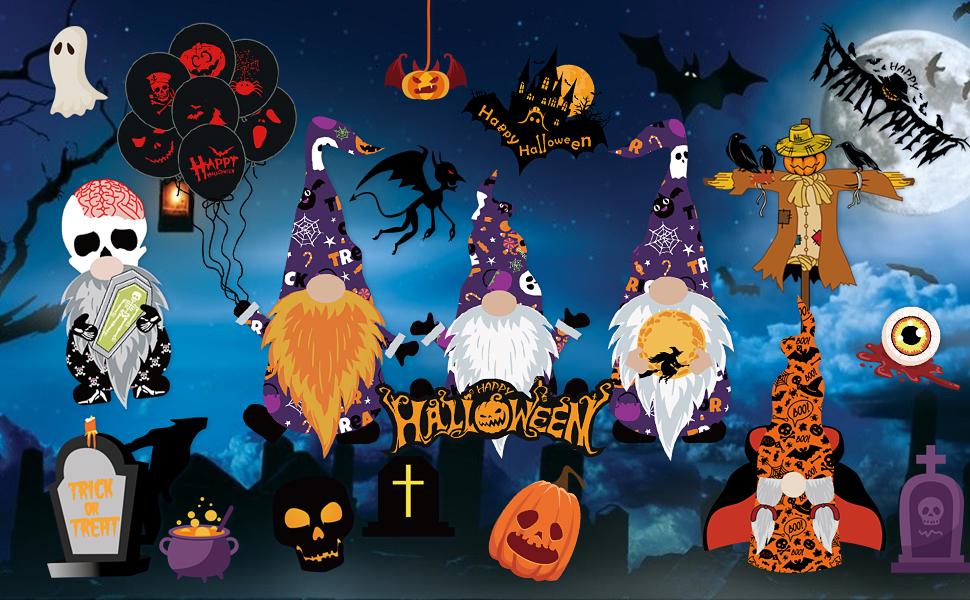 Halloween Window Clings Glass Decal Wall Stickers Decorations Gnome Pumpkin Lantern Bat Skeleton