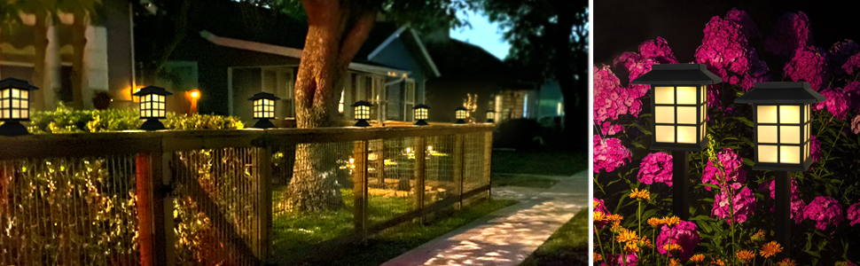 Warm white LED solar post lights provide accent lighting to your garden