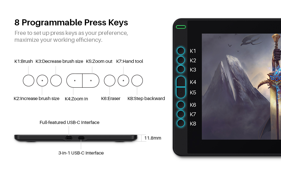 8 Programmable Press Keys