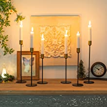 tall candlestick holders gold and black