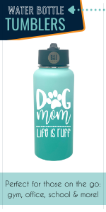 water bottle stainless steel dog mom teal