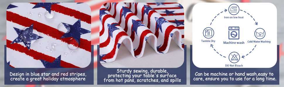 Independence Day Table Runner 4th of July Table Decorations Holiday Linens (3)