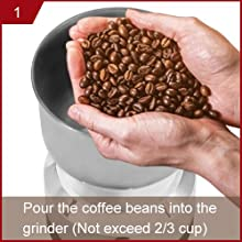 1.Pour the coffee beans into the  grinder (Not exceed 2/3 cup)