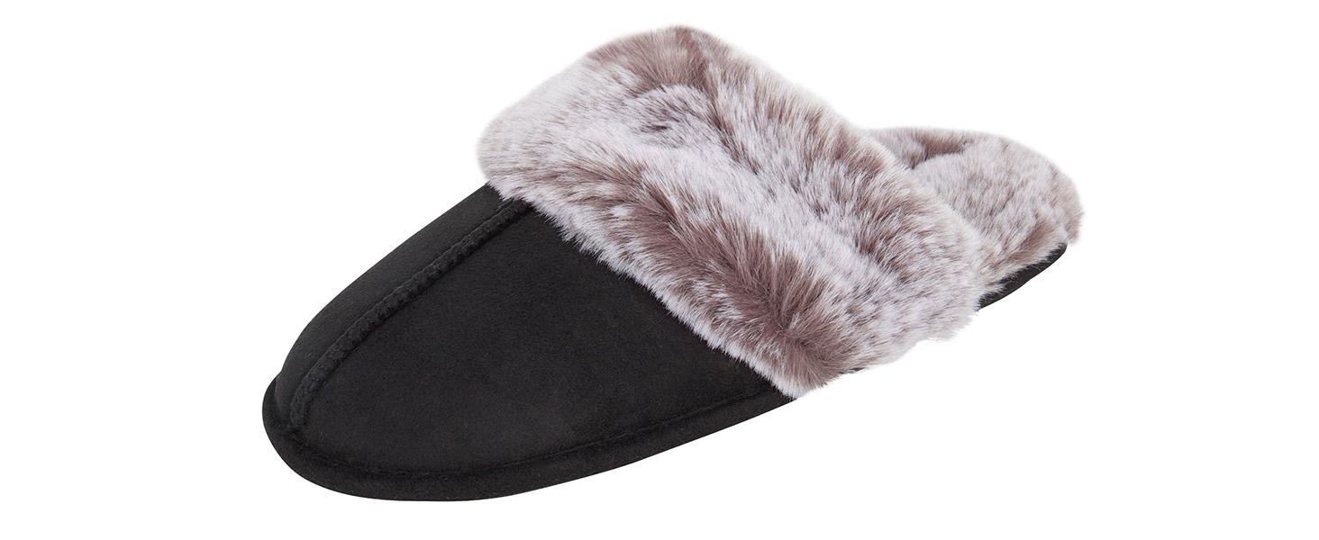 jessica simpson womens scuff slipper fluffy faux