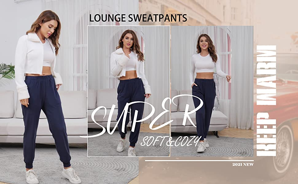 Sweatpants for Women Soft Lounge Pants Elastic Waist Trousers Gym Athletic Joggers with Pockets