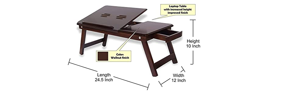 Laptop Table with Increased Height ( DIMENSIONS : Length (63 cm), Width (31 cm), Height (26 cm)