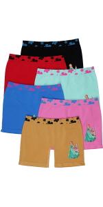 girls pack of six long boyshorts princess shorts