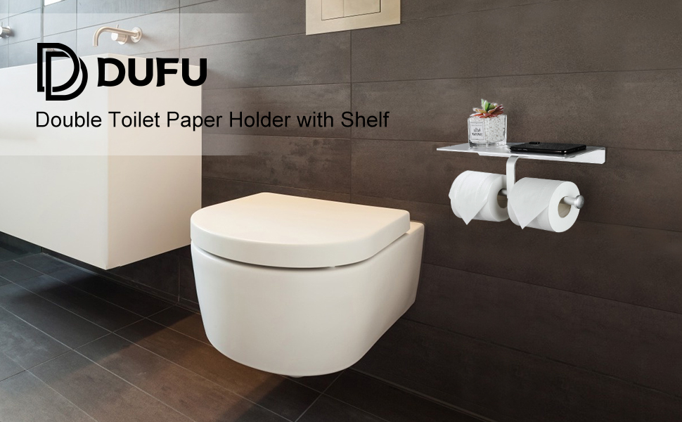 Dufu double roll toilet paper holder with shelf