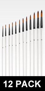 12pcs Acrylic Paint Brushes Set - Round Tip