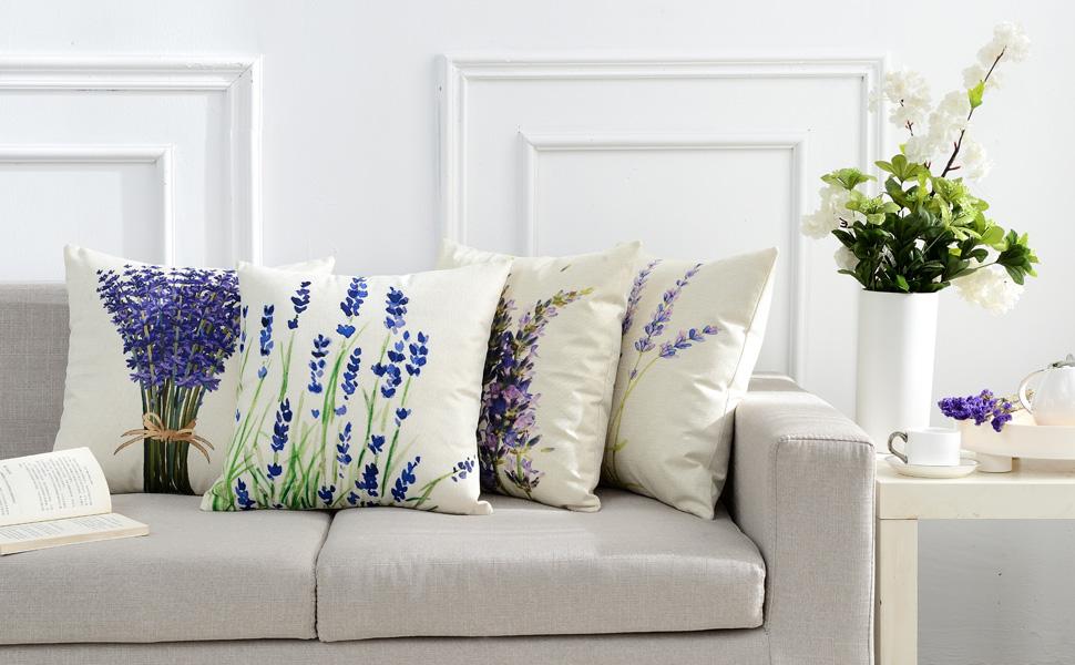 decorative lavender garden outdoor pillow cover