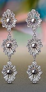 floral pearl rhinestone antique style lace drop dangle bridal earrings earring wedding jewelry