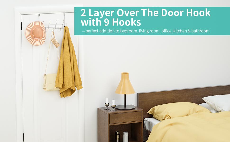 silver over door hooks