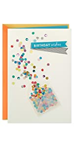 """Birthday greeting card with confetti and """"Birthday Wishes"""" banner"""