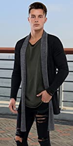 Men Casual Contrast Color Open-Front Shawl Collar Knit Cardigan