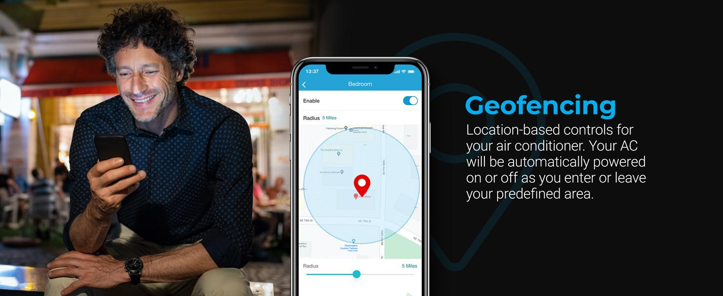 Geofencing for location based controls with Cielo Breez Eco smart AC controller
