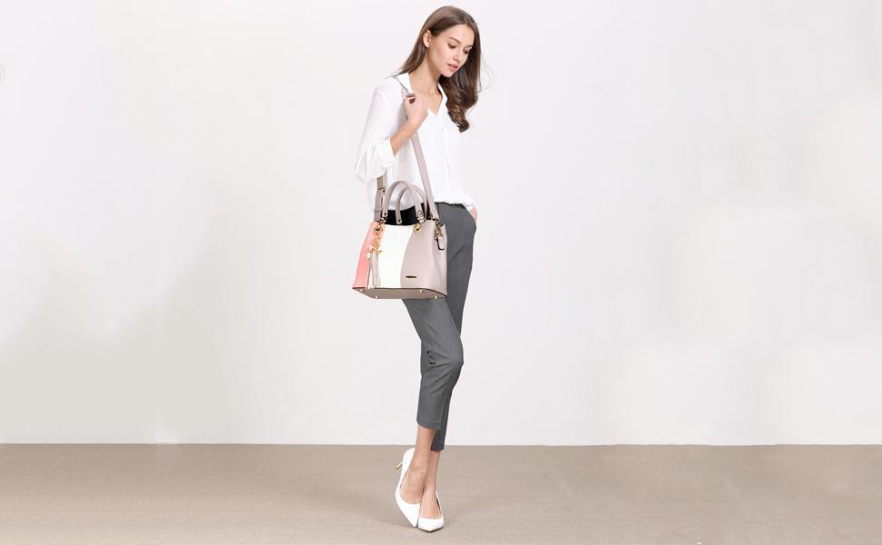 pink handbag model