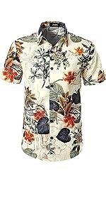 Mens Flowers Casual Aloha Hawaiian Shirt