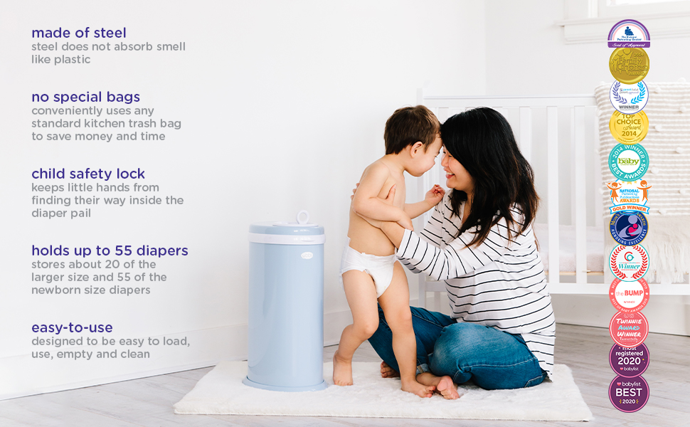 Mom and toddler on the floor, touching foreheads and smiling, next to cloudy blue diaper pail