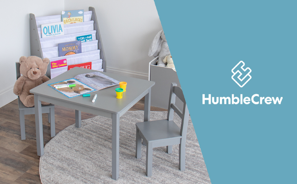 Humble Crew brand kids furniture home playroom child toy box bookrack table and chairs