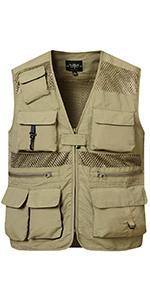 Men Mesh Lightweight Cargo Vest Summer Multi Pockets Photo Jacket