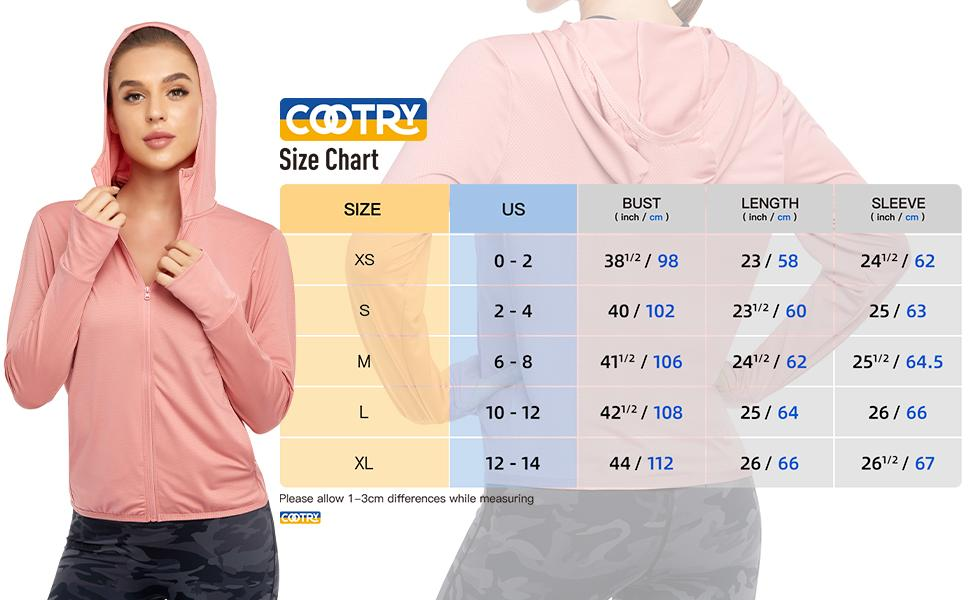 size chart of the cute workout hoodie jacket shirt