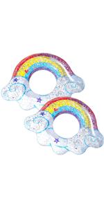 2 pcs Inflatable Rainbow Pool Tubes