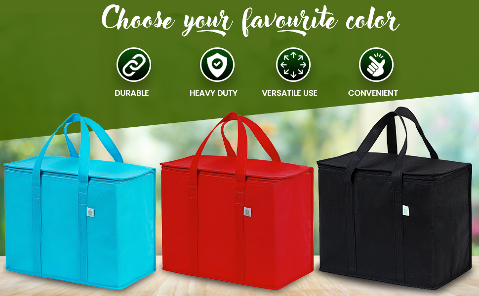 VENO insulated grocery bags are durable, heavy duty, versatile, convenient, blue, red, black