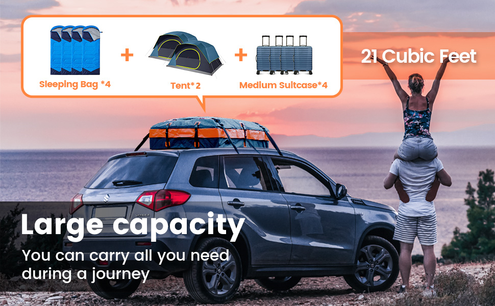 21 cubic feet can carry 4 sleeping bags, 2 tents, 4 medium suitcases