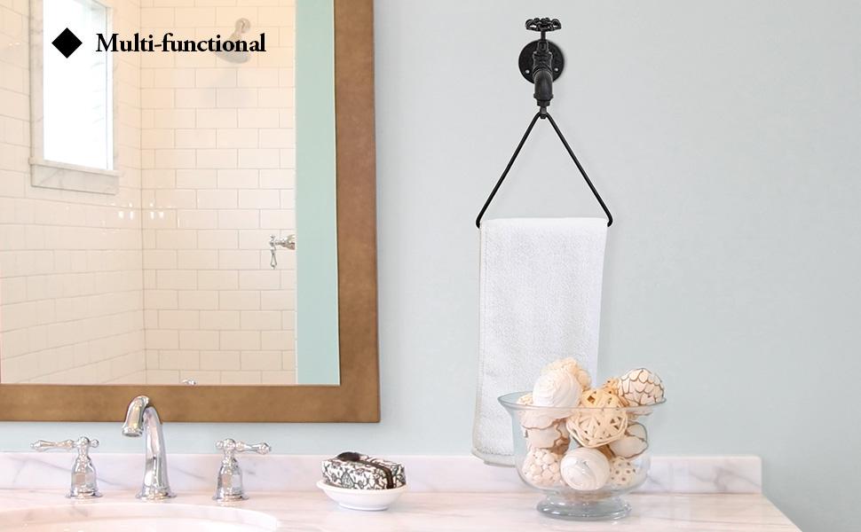 Triangular Black Metal Hand Towel Ring bathroom  towel holder rack