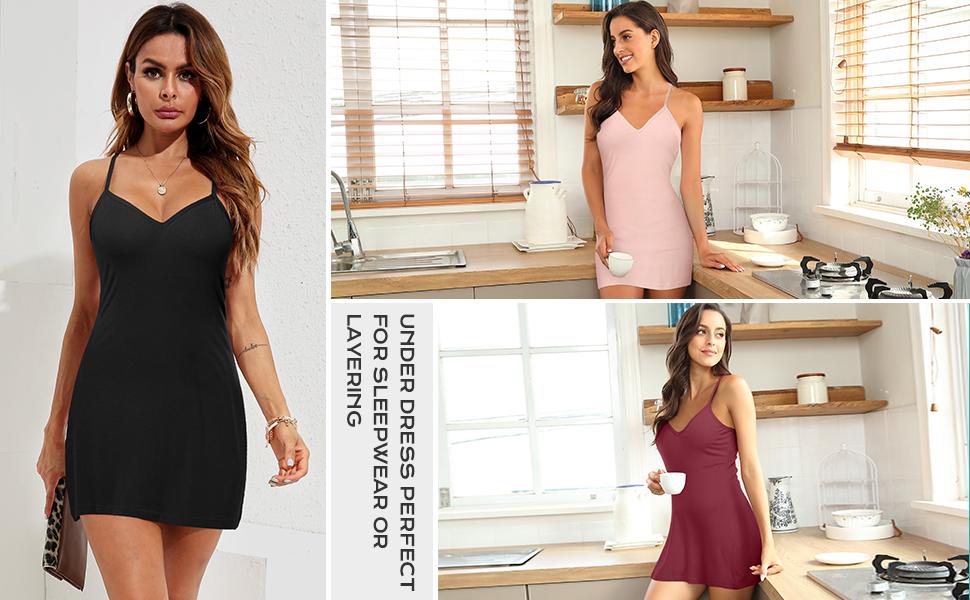 full slip dress underwart Nightgown Spaghetti Strap