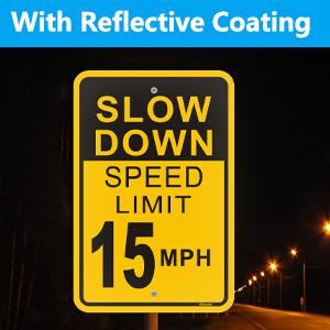 slow down speed limit 15 sign