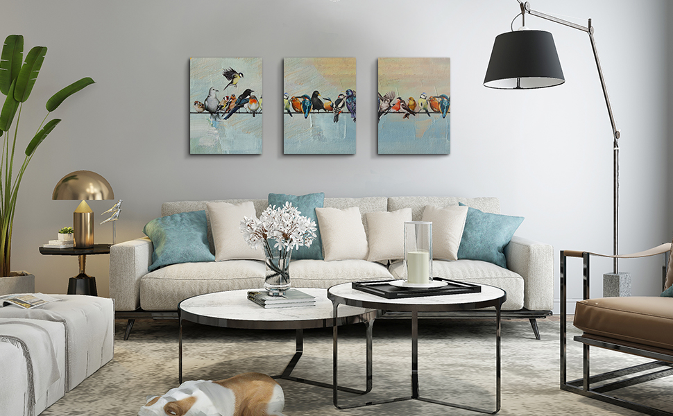 Birds on a Wire Wall Art Modern Painting Watercolor Picture Set of 3
