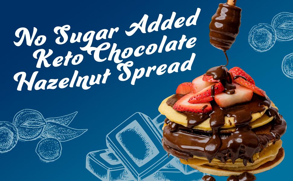ChocZero Hazelnut Spread drizzled on strawberries and pancakes