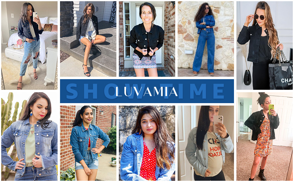 luvamia Womenamp;#39;s Basic Button Down Stretch Fitted Long Sleeves Denim Jean Jacket