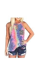 Womens Summer Tops Tie-Dye Leopard Pocket Sleeveless Tank Top