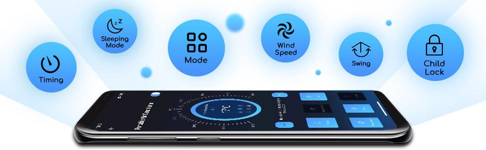 APP Control(Such as Timing/Sleeping Mode/Mode/Wind Speed/Swing/Child Lock and so on)