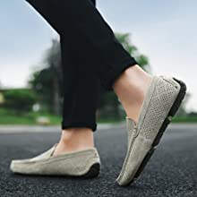 Khaki breathable penny flat loafers