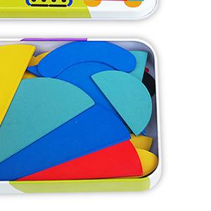 Wooden Pattern Blocks Tangram Shape Puzzle Set Animals Jigsaw