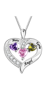 Personalized Mothers Necklace with 3 Simulated Birthstones Engraved Name Women