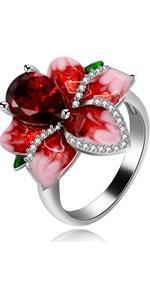 Teardrop flower ring
