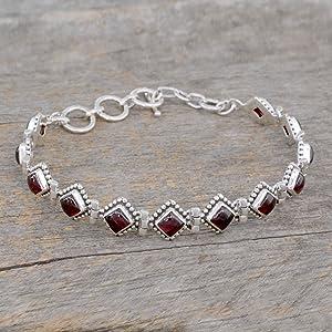 NOVICA,Silver,Garnet,Bracelet,Jewelry,Red,Gemstone,Chain,For Women,Gift,Tennis,Fashion,Modern,Metal