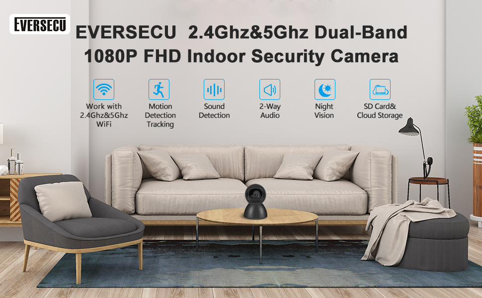 EVERSECU 2.4GHZ and 5Ghz Dual Band wifi seucrity Camera auto tracking baby pet dog edlerly care