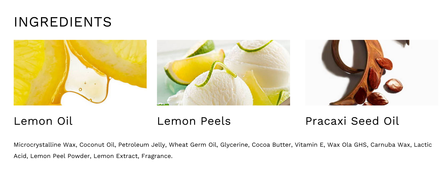 Ingredients of ALANNA Lemon Lip Scrub